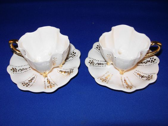2 Vintage Miniature White Footed Teacups and Saucers Tea Cups Gold Accents | eBay