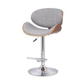 Shop for US Pride Furniture Walnut and Grey Fabric Adjustable Swivel Bar Stool…