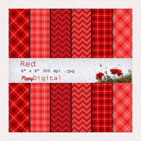 Digital Paper Pack Red Tartan Valentines Day Patterns Backgrounds Texture - Instant Download