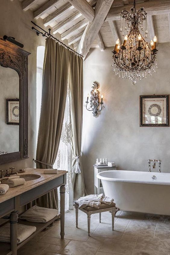 French Bathroom. Rustic and romantic French Bathroom. #FrenchBathroom:
