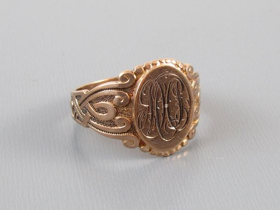 Mans 1917 engraved antique Edwardian Gothic Revival 10k rose gold signet ring by SundayandSunday on Etsy