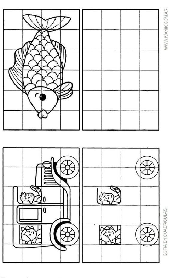 Traslado de imagen por cuadriculas para ni os buscar con for Papel para dibujar