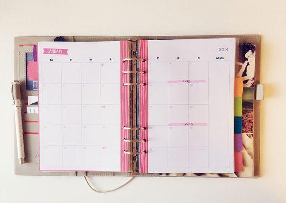 My Calendar Planner : My filofax set up free printables a calendar custom