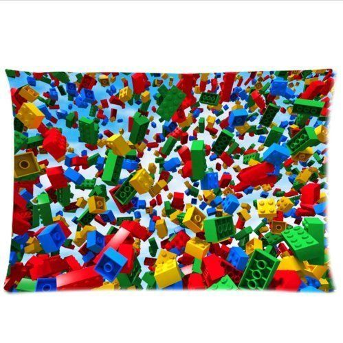 """personalized cool colorful Lego Blocks pattern soft Satin pillowcase,Zipper pillow cases 20""""(W)x30""""(L)one side LEGO"""
