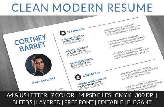 Check out Clean Modern Resume by PiotrLapa on Creative Market - modern resume templates free