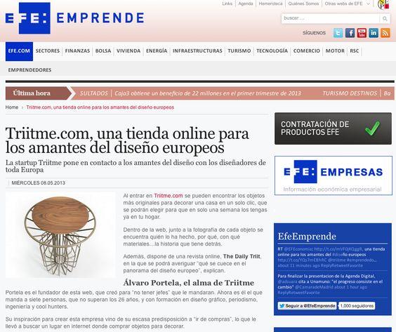 EFE Emprende, http://www.efeempresas.com/noticia/triime-com-una-tienda-online-para-los-amantes-del-diseno-europeos/