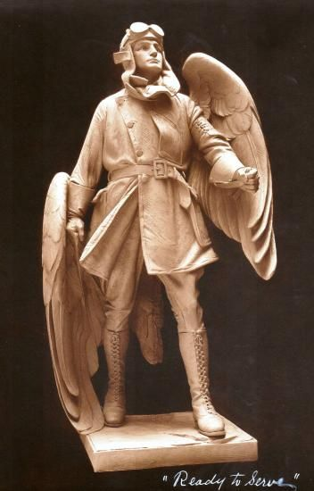 "Artist's model of ""The Aviator"" by sculptor Augustus Lukeman, around 1925…:"
