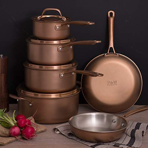 Fleischer Wolf Copper Pots And Pans Sets Induction Cookware Sets 10 Pieces Triply Stainless Steel Oven Saf Pots And Pans Sets Cookware Set Induction Cookware