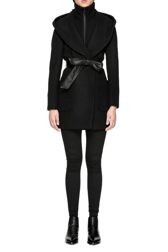 SIRI by MACKAGE is an above knee length, cashmere blend wool coat with a shawl outer collar and zippered inner band collar. Features genuine leather tie belt and trim. Twin deep patch pockets at front. Black oxide hardware. Available in black. Features: Above knee length. Semi fitted silhouette. Wool cashmere blend fabric. Hood and inner removable bib with high collar. Leather tie belt. Black oxide hardware. Leather welt pockets. Leather trim.   Siri Wool Coat by Mackage. Clothing - Jackets…