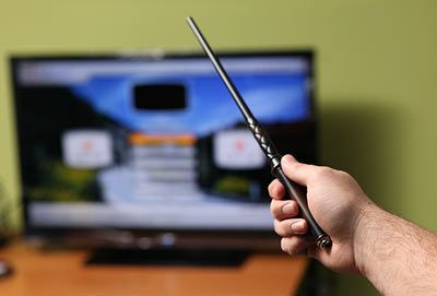 I WANT!!!!!!!!!!!!!!!!!!!!!! A Harry Potter wand that actually works like a TV remote. You can raise the volume or change channels by flicking or moving the wand!