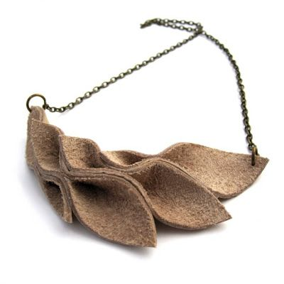Leather Leaf Necklace - DIY textile jewellery how-to tutorial; handmade fashion project