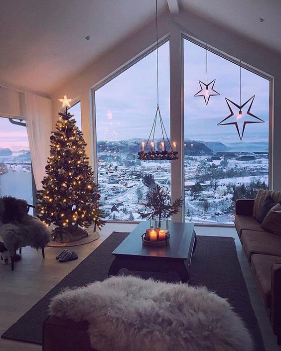 Cozy living room with amazing snow view