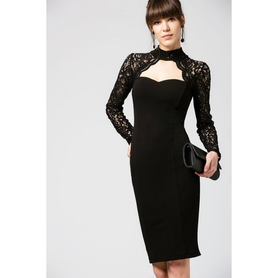Lace Neck Christmas Outfit Party Wear Women's Fashion Evening Wear... (140 CAD) ❤ liked on Polyvore featuring dresses, holiday party dresses, lace dress, short lace dress, christmas dresses and cocktail party dress