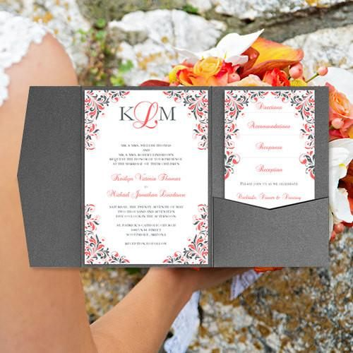 Pocket Fold Wedding Invitations Kaitlyn Coral 37 Gray 5x7 Pocket Fold Wedding Invitations Wedding Invitations Printable Wedding Invitations