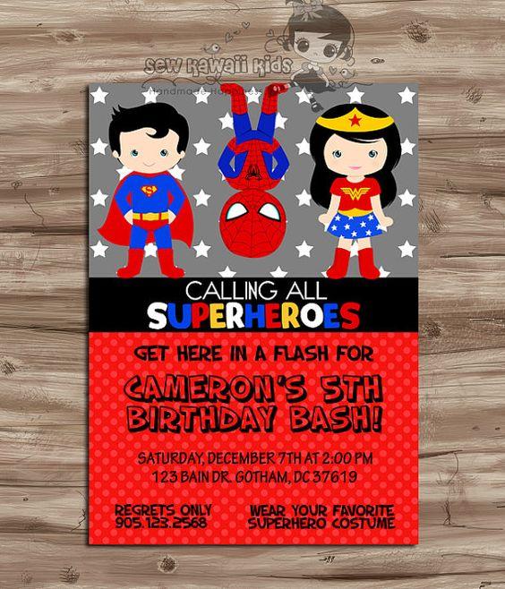 SUPERHEROES Birthday Invitation, SUPERHEROS Invite, Superhero Party, Wonder Woman, Captian Amercia, Flash,  Digital Printable 5 x 7 JPG File...