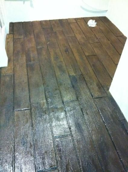 Basement ideas outdoor patios and wood planks on pinterest for Hardwood floor concrete stamp