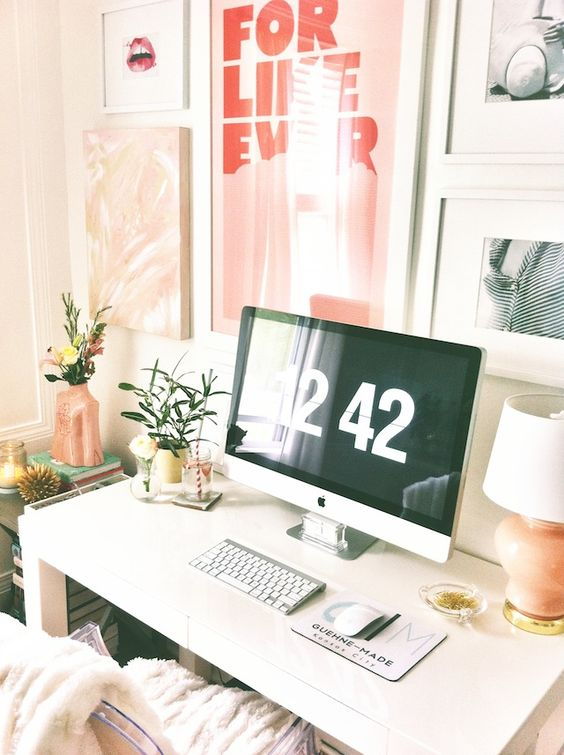 white office space, @west elm parsons desk, chic feminine wall collage