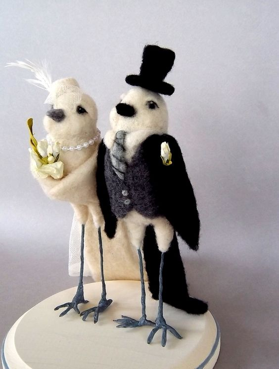 Needle felted wedding topper