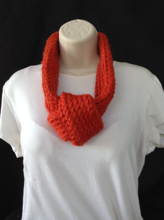 handmade loom knitted adjustable orange infinity scarf by knittedbydesign on Etsy