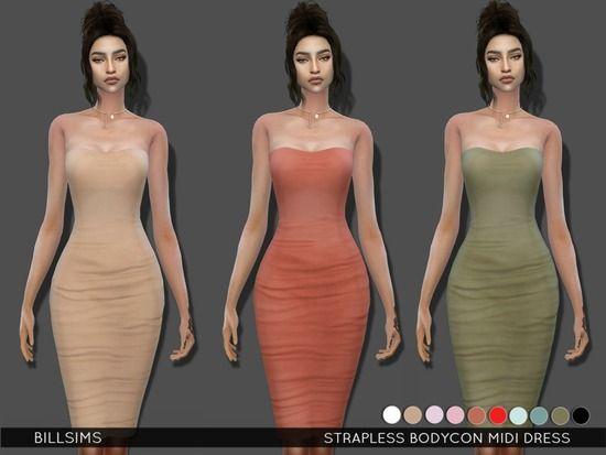 Bill Sims' Strapless Bodycon Midi Dress