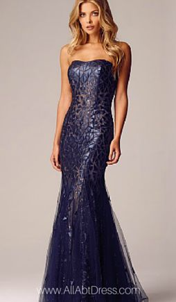 Alberto Makali Blue LEATHER APPLIQUE STRAPLESS EVENING GOWN ...