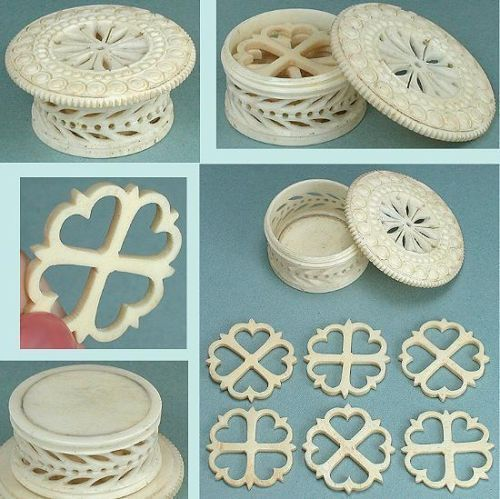 Rare Boxed Set of 6 Antique Carved Heart Bone Thread Winders * Circa 1850: