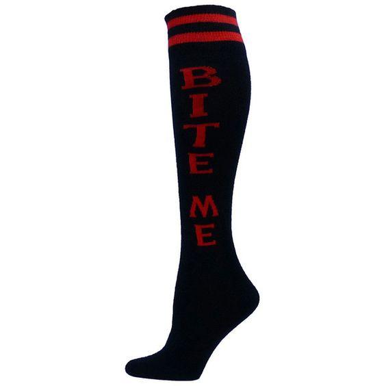 bite-me-define-yourself-urban-knee-high-socks-5.gif (1100×1100) ❤ liked on Polyvore featuring intimates, hosiery, socks, urban socks, knee high socks, knee socks and knee hi socks