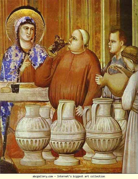 Stunning jugs  Giotto. The Wedding Feast at Cana. Detail. 1304-1306. Fresco. Capella degli Scrovegni, Padua, Italy.