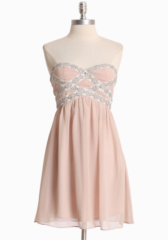 """Graceful Waltz Strapless Dress 77.99 at shopruche.com. Make an elegant statement in this sophisticated and feminine beige chiffon dress. Finished with blush undertones, shimmering beaded detail at the bust, and a hidden back zipper. Fully lined.  Self: 100% Polyester, Lining: 95% Polyester, 5% Spandex, Imported, 27.5"""" length from top of bust"""