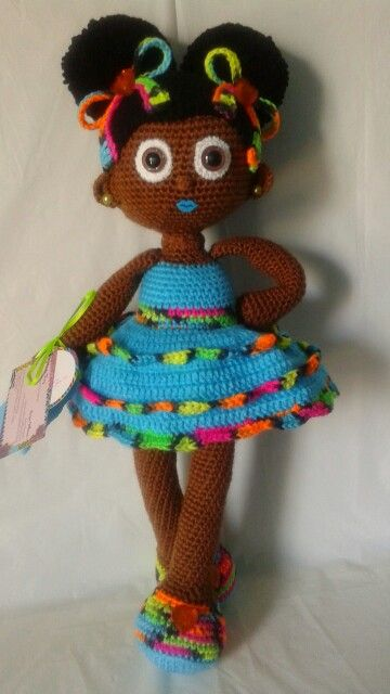 Crochet Doll African American Girl With Afro Puffs And