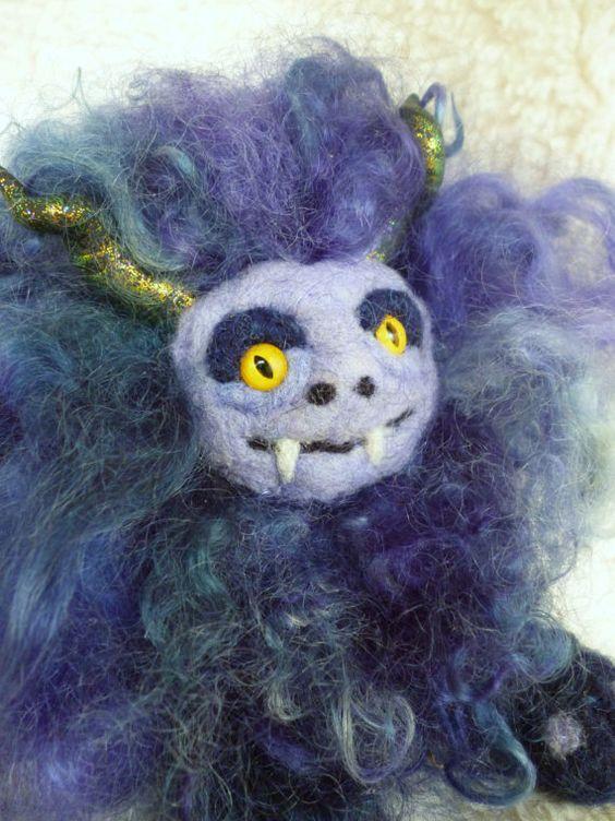 Felted Fantasy Sculpture Gruffle Hunter Blue by Gypsyharte on Etsy, $75.00