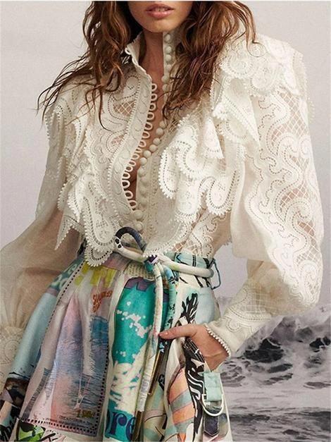 Fashion Women's Lantern Sleeves Hollow Shirt #womensfashionstyletypes