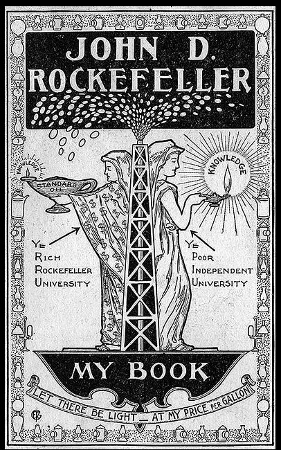 oil tycoon John D. Rockefeller's bookplate, or more likely, a bit of satire created by a contemporary critic!