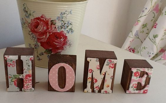 Wooden Word Blocks decoupaged in Cath Kidston - HOME or LOVE. via Etsy.
