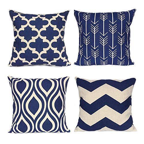 Weyon Geometric Throw Pillow Covers Navy Blue Home Deco O Https Www Amazon Com Dp Throw Pillow Cover Navy Geometric Throw Pillows Blue Throw Pillow Cover