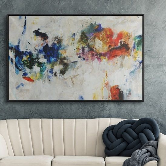 Colorful Modern Art In A Contemporary Living Room We Love Adding Contemporary Abstract Art Painting Diy Abstract Art Painting Abstract Art Painting Techniques