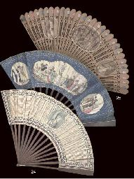 QUEEN MARIE ANTOINETTE, A PIERCED WOODEN BRISE FAN. Applied with an oval stipple engraving, the faces printed in colour depicting Marie Antoinette gardening, with the Dauphin and the Duc de Normandie, and two further portraits, one Mrs Sheridan, the other probably La Princesse de Lamballe, with tricolor ribbons. French, circa 1785.