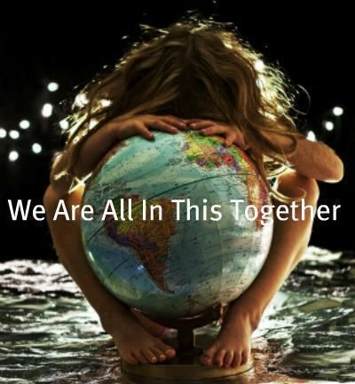 girl hugging globe We Are All In This Together,  Peace On Earth