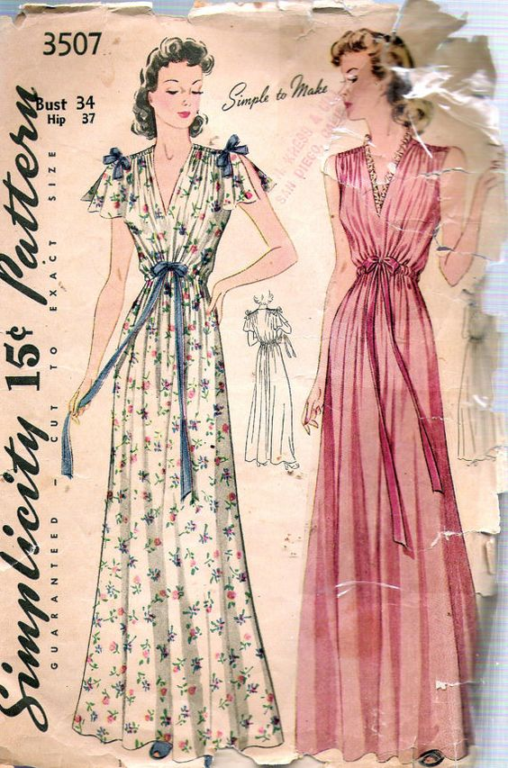 Patron de couture chemise de nuit Vintage 1940 simplicité 3507 jeunes filles et des femmes. Chemise de nuit à manches cape a plénitude épaule et