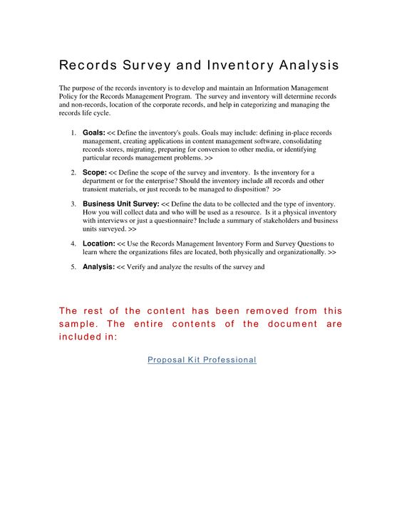 Records Survey and Inventory Analysis - The purpose of the records ...