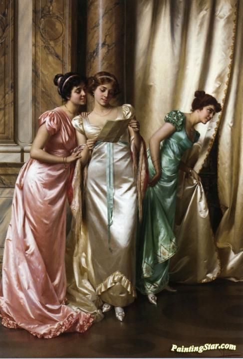 The Eavesdroppers Artwork by Vittorio Reggianini Hand-painted and Art Prints on canvas for sale,you can custom the size and frame