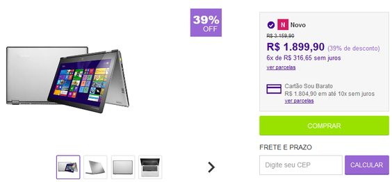 "Notebook Lenovo 2 em 1 Yoga 2 com Intel Core i3 4GB 500GB LED 133"" Touchscreen Prata Windows 8.1 << R$ 189990 em 6 vezes >>"