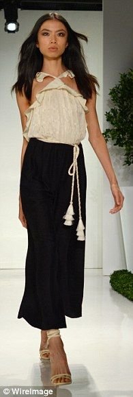 Touch of summer: Loose-fitting dresses and summery off-the-shoulder numbers were exhibited...