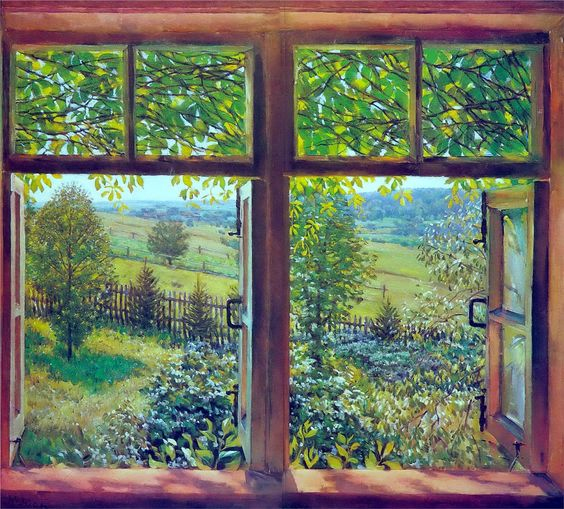 Konstantin Yuon - Open Window. Ligachevo, 1947: