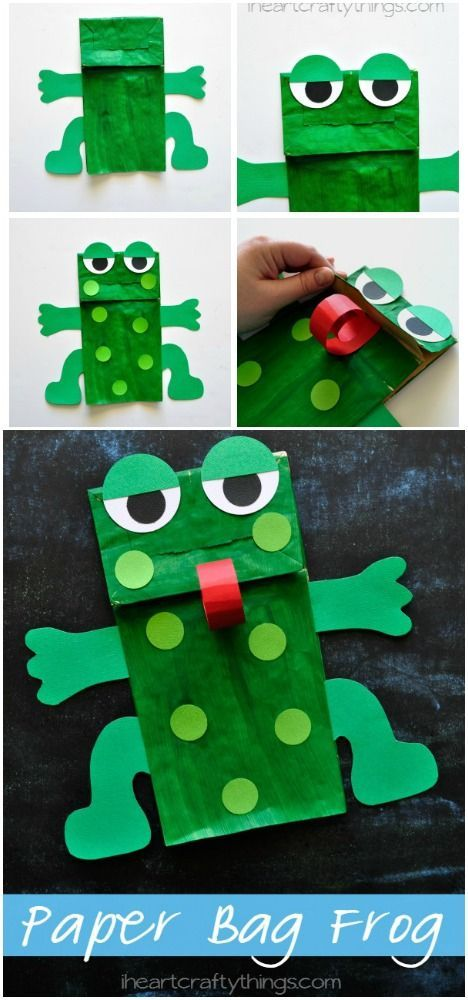 This Paper Bag Frog Kids Craft goes great with Five Green and Speckled Frogs or when learning about the letter F in preschool. Free arm and legs pattern included. from iheartcraftythings.com: