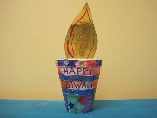 Diwali diya craft paper flame in plant pot classroom for Art and craft for diwali decoration