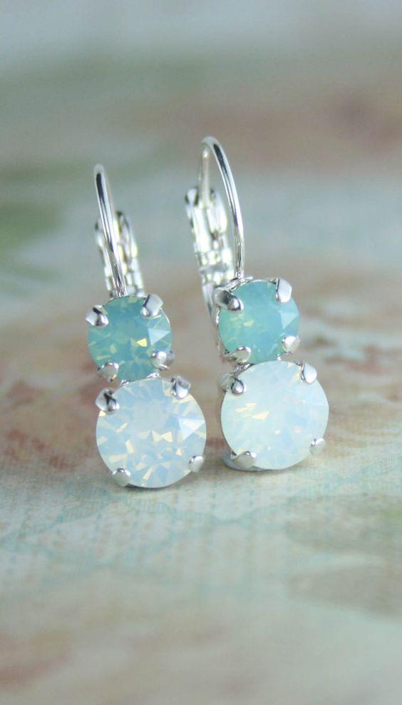 Aqua mint white opal rose gold leverback earrings | beach wedding | swarovski leverback earrings | www.endorajewellery.etsy.com
