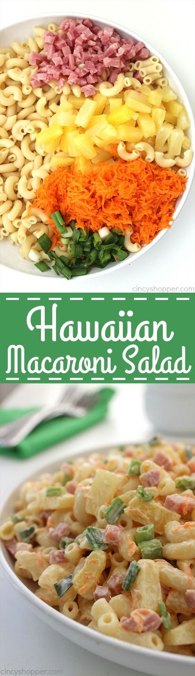 Hawaiian Macaroni Pasta Salad Recipe via Cincy Shopper - flavors from ham, and pineapple with a delicious pineapple dressing that is delish! Easy Pasta Salad Recipes - The BEST Yummy Barbecue Side Dishes, Potluck Favorites and Summer Dinner Party Crowd Pleasers
