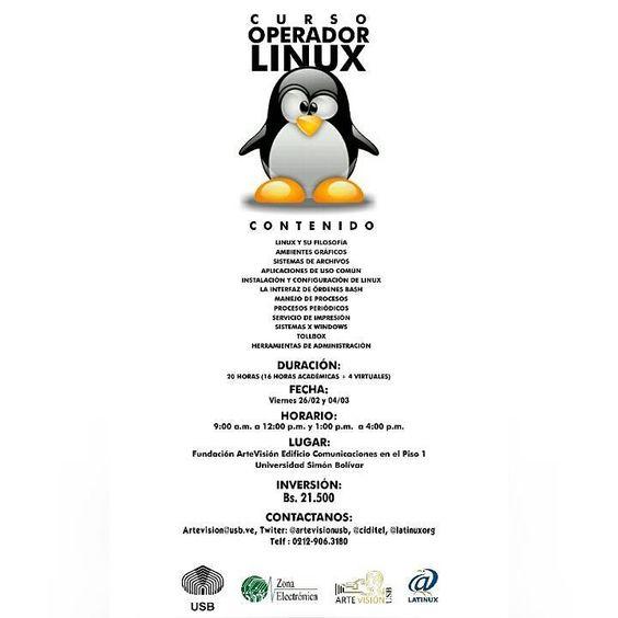 Artevisión  invita  al  curso  Operador Linux  Inicio 26 de febrero  Más información  por el teléfono  0212-9063180  http://ift.tt/1o4A8mH  #usb #cursos #linux by artevisionusb