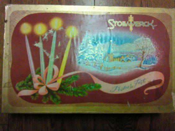 Vintage Stollwerck German chocolate candy tin